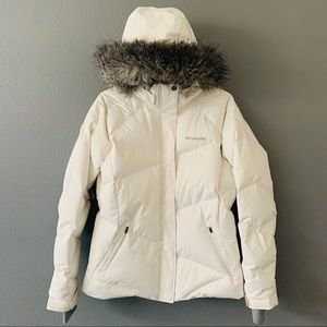 Columbia Large Lay D 550 Down Hooded Jacket White